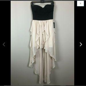 Plunging Strapless Ruffle Chiffon High Low Dress S